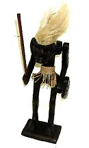 southeast asia native craft, collections - Cool guy warrior with rope hair and skirt holding stick