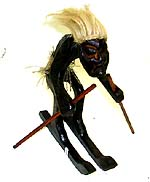 southeast asia native craft, collections - Cool guy with rope hair and skirt on skiing