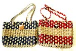 Assorted color and design rattan / straw / hemp hand bag, natural material fashion accessory