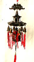 Metal made of ancient Chinese style house with multi bell hanging on bottom