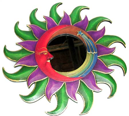 Craft home decoration - assorted color fire edge moon and shooting star design fashion mirror