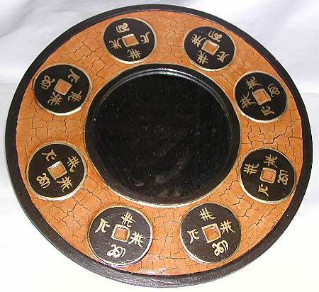 Asia home decor online shop - tan crack rounded mirror with multi oriental coin pattern design