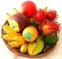 Assorted combination fruit tray with retan basket