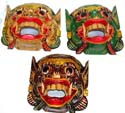 Assorted color dragon head with mouth open design wooden mask
