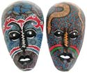 Assorted color and pattern design face mask with empty eye hole / eye-closed and mouth mouth open, black color lips