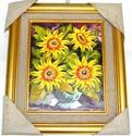 Golden edge decor assorted design fashion oil painting picture from Bali artists, randomly pick