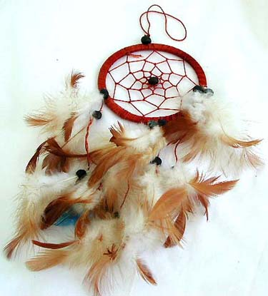 wholesalr Bali product, bali handmade crafts brown single circle feather dream catche
