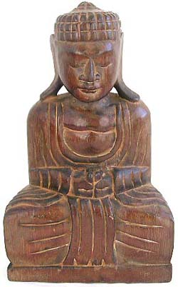 Tropical wood made of brown Tahiland buddha statue