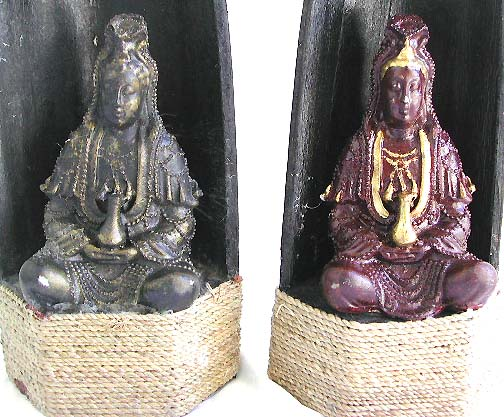 Guan Yin in coconut shell statue with rope tie on bottom, assorted color randomly pick