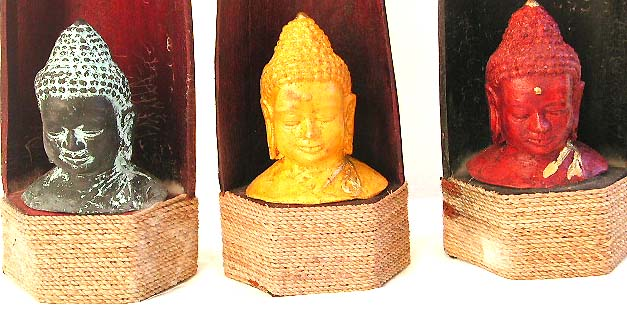 Buddha head in coconut shell statue with rope tie on bottom, assorted color randomly pick