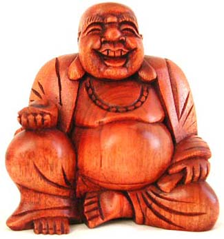 Sitting happy buddha statue made of tropical wood