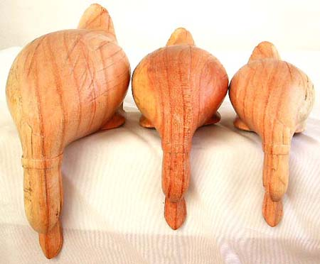 Tropical wood made of duck family set abstract carving, 3 pieces per set