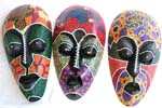 Multi color painting dotted lombok mask with black eye lids and lips, assorted color and pattern randomly pick