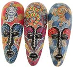 Long dotted Lombok mask with black eye lids, lips and assorted animal decor on forehead, randomly pick