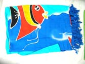 Import wholesaler distributes Aloha fish print on blue leisure wear sarong