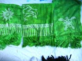 Handcrafted green tie dye batik shawl with white ocean life design from wholesale clothing exchange supplier