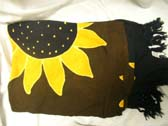 Import wholesale factory dealer, Large sunflower decor on black bali batik tropical sarong