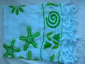 Leisure apparel wholesale distributor, Green seashell theme on white bali bali bikini wrap around