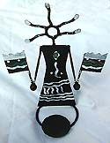 warriors holding flags candle holder