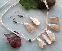 Necklace and earring jewelry set with natural color multi strings, seed beads and genuine seashells