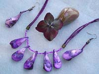 Necklace and earring jewelry set with purple color multi strings, seed beads and genuine seashells