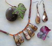 Necklace and earring jewelry set with brown color multi strings, seed beads and genuine seashells
