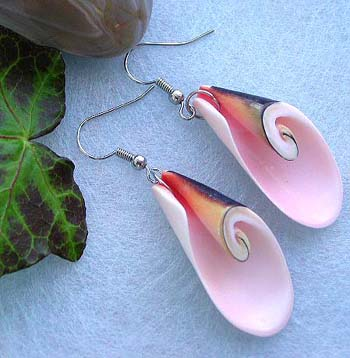 Contemporary jewelry fashion necklace wholesale lot, pinkish seashell fashion earring with fish hook