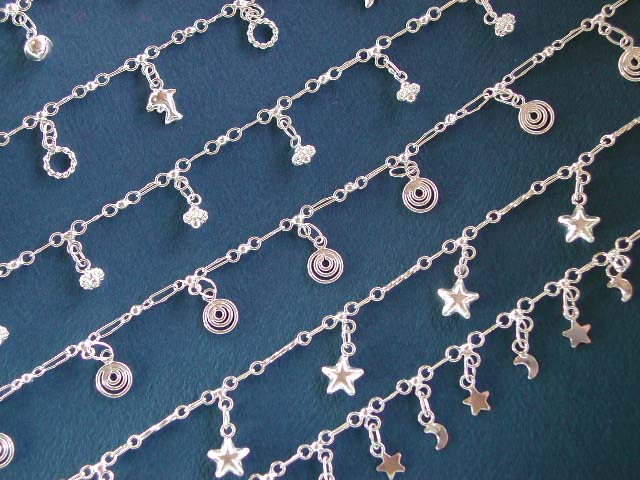 Silver anklet bracelet wholesale, assorted pattern design anklet made of 925 sterling silver