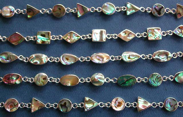 bracelet wholesale lot , solid 925 sterling silver jewelry with semi precious stone paua shell embeded bracelets