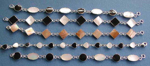 wholesale bracelet, 925 sterling silver jewelry with seashell and semiprecious gemstone black onyx inlaid, bracelet wholesale lot price