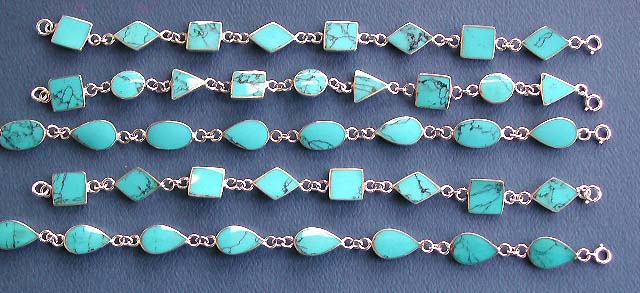turqouise bracelet in 925 sterling silver, silver jewelry wholesale lot of reconstituted gemstone turquoise bracelets