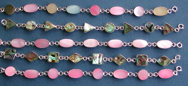 wholesale lot of pink shell and paua shell, mother of pearl seashell silver bracelets