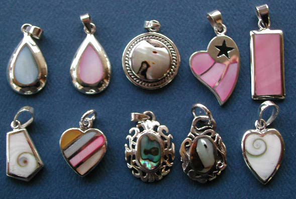Costume jewelry wholesale, seashell stone inlay pendant in 925. sterling silver setting
