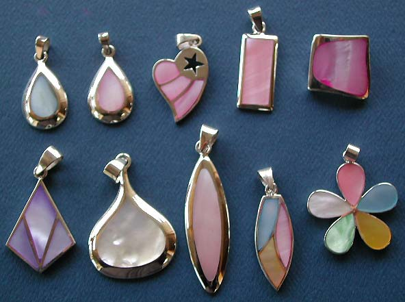 Designers trendy pendant jewelry wholesale, 925. sterling silver pendant with assorted color seashell stone inlaid