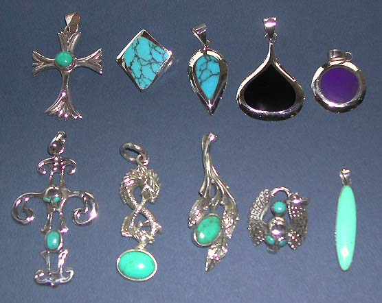 Online suppliers gem stone pendant wholesale, sterling silver pendant with genuine turquoise or onyx stone inlaid