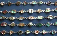 Wholesale bracelet with paua shell inlaid and solid 925 sterling silver setting