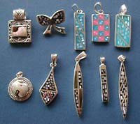 Pendant jewelry wholesaler 925. sterling silver with multi seashell beads inlaid