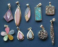 Sterling silver jewelry wholesale assorted design pendant with seashell stone embedded