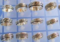 wholesale ring jewelry supply wide band spinning ring in assorted pattern design