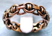 bronze ring in carved-out Celtic knot chain design