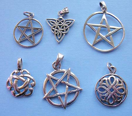 Wholesale listing pendant jewelry, 925. sterling silver pendant in pentagram and Celtic knot work design