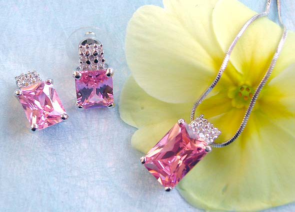 Hot jewelry supplier wholesale chain necklace, rectangular pinkish cz pendant and stud earring set