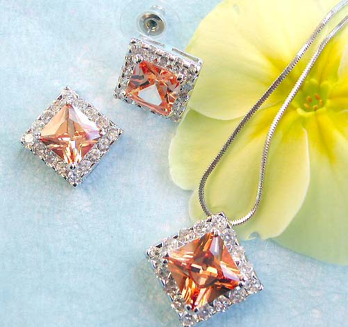 Elegant jewelry collection wholesale chain necklace, mini clear cz around diamod orange cz pendant and stud earring set