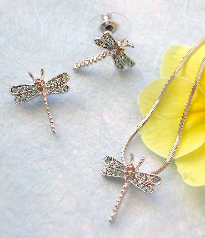 Wholesale jewelry making supply chain necklace, mini blue cz dragonfly pendant and stud earring set