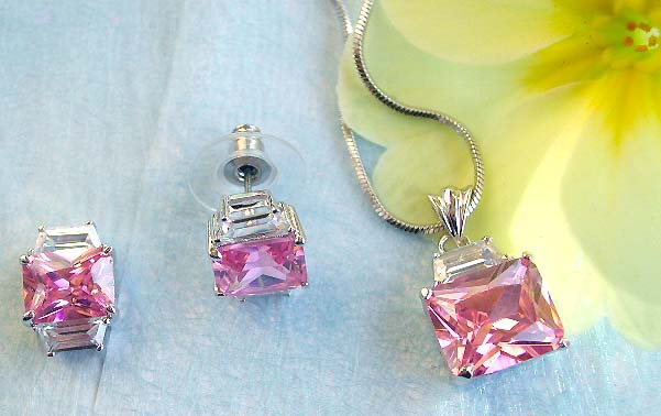 Best jewelry store online wholesale chain necklace, rectangular pinkish cz pendant and stud earring set