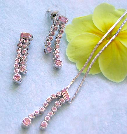 Dangle jewelry supplier wholesale chain necklace, pinkish rounded cz double dangle pendant and stud earring set